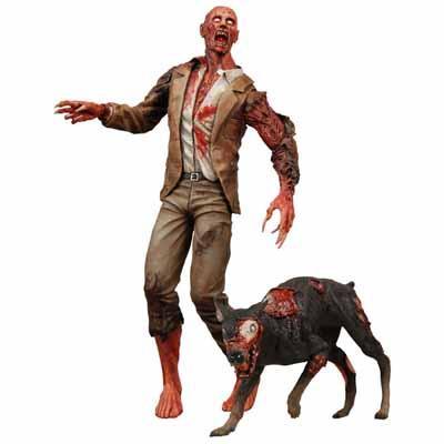 ボロボロになった人間ゾンビと傷だらけのゾンビ犬